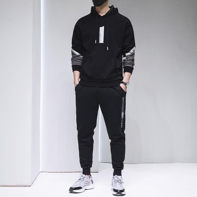 2020春季新款男反光印花连帽套头运动卫衣套装小脚裤个性修身