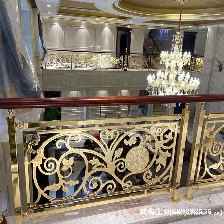 苏州紫铜楼梯扶手镀K金玫瑰金价格