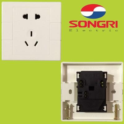 上海松日S1000工程款二三极插座建筑楼盘墙壁五孔10A插座