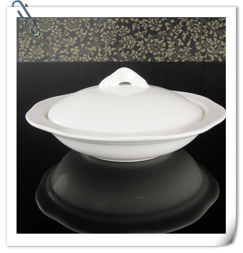 酒店用品炖盅镁质陶瓷盅日用陶瓷隔水炖盅6寸牛油碟LOGO