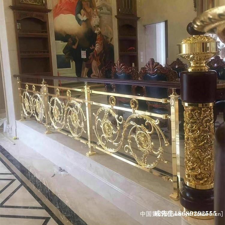 欧式铜艺楼梯扶手新款式艺术雕花图案好看