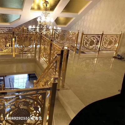 河南郑州金色铜制楼梯扶手安装效果图及价格