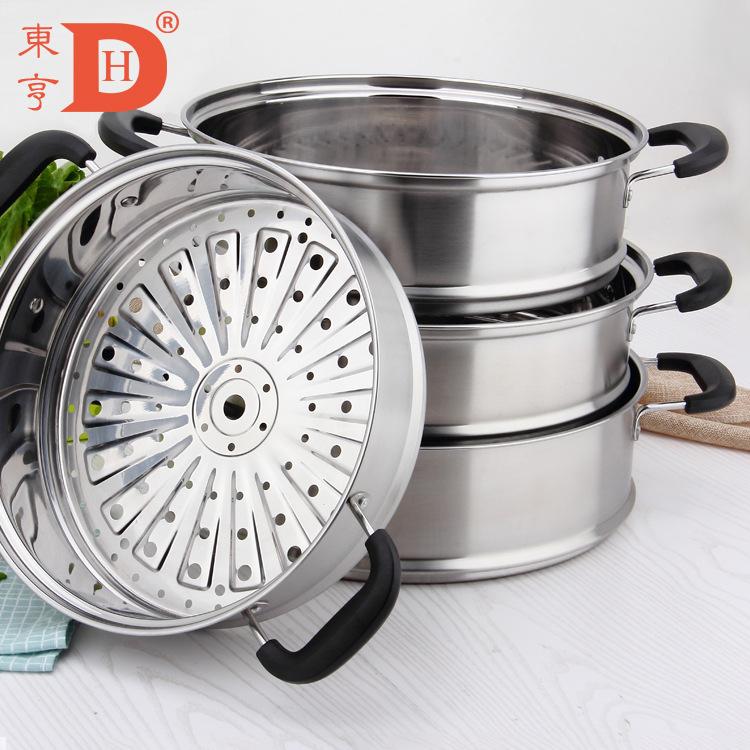 蒸锅蒸笼食品级430不锈钢蒸笼加厚防烫电木手柄蒸格批发可定制