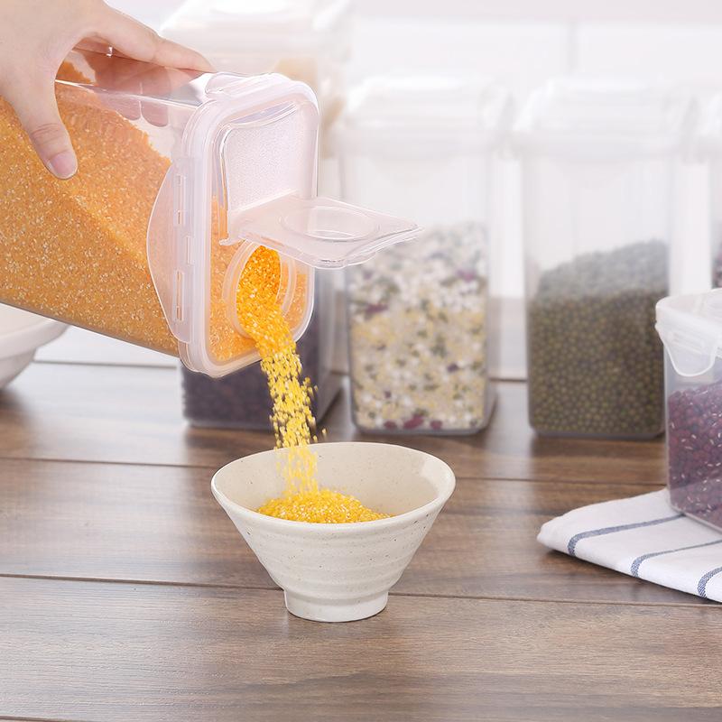 1.8L翻盖杂粮收纳盒食品储物盒冰箱塑料保鲜盒长方形分格密封罐