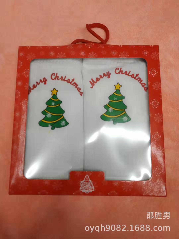 现货蜂巢格茶巾礼盒圣诞节厨房巾圣诞树圣诞铃铛礼物
