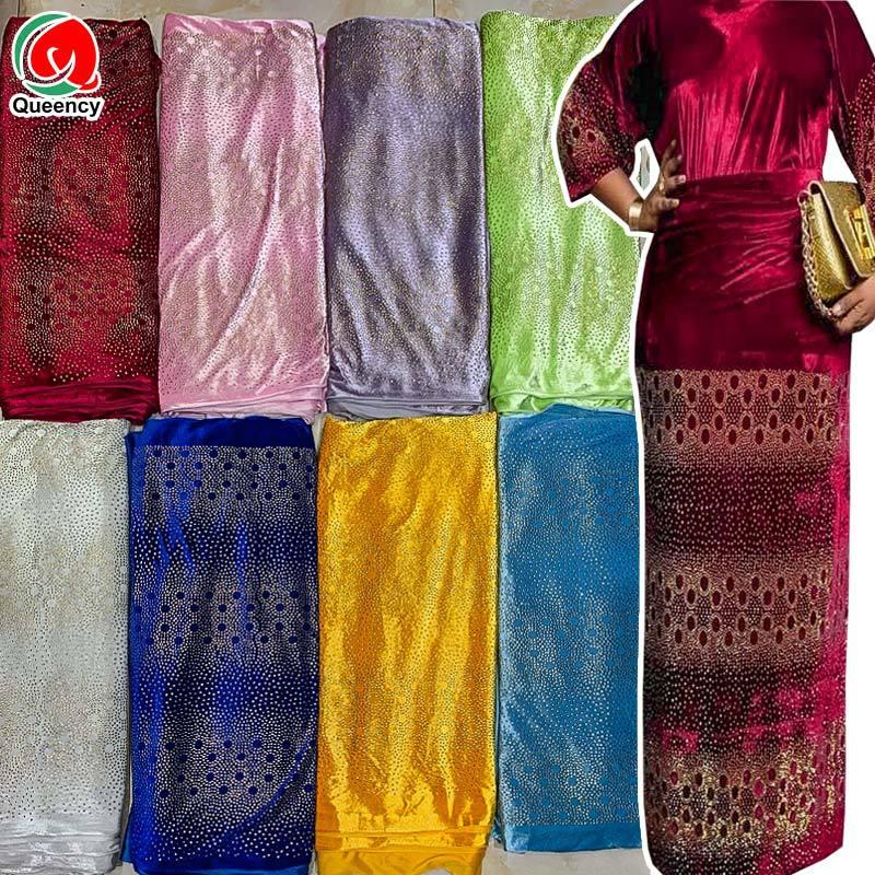VQ015高质量欧美烫钻绒布气质裙子服装面料StonesVelvetLace