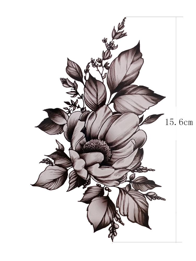 腹部剖腹产刀疤贴黑灰色花蕊手臂肩胛女刺青纹身贴纸HM1139